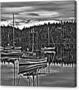 Boating Reflections Mono Canvas Print