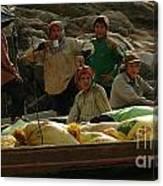 Boatmen In Laos Canvas Print