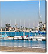 Boats And Blue Water Canvas Print