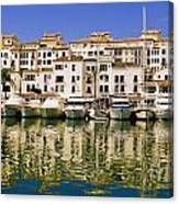 Boats And Houses On Waterfront Canvas Print