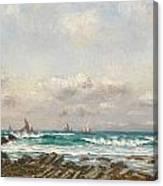 Boats At Sea Canvas Print