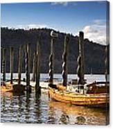 Boats Docked On A Pier, Keswick Canvas Print