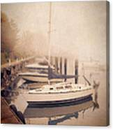 Boats In Foggy Harbor Canvas Print