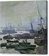 Boats In The Pool Of London Canvas Print