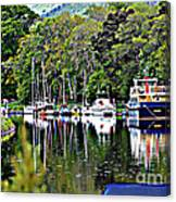 Boats On A River Canvas Print