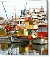 Boats On Santorini Canvas Print