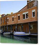 Boats On The Canal - Venice Canvas Print