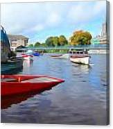 Boats On The Garavogue Canvas Print