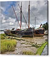 Boats On The Hard At Pin Mill Canvas Print