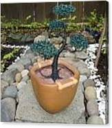 Bonsai Tree Medium Brown Square Planter Canvas Print