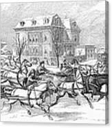 Boston: Sleighing, 1854 Canvas Print