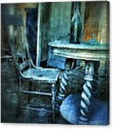 Bottle On Table In Abandoned House Canvas Print