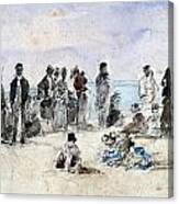 Boudin: Beach Scene, 1869 Canvas Print