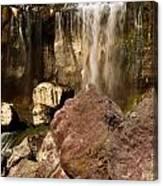 Boulders Under The Falls Canvas Print