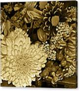 Bouquet In Sepia Canvas Print