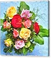 Bouquet Of Colorful Flowers - Digital Watercolor Painting Canvas Print