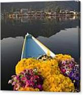 Bouquet Of Flowers In Bow Of Boat Dal Canvas Print