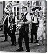 Bourbon Street Second Line Wedding New Orleans In Black And White Canvas Print