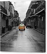 Bourbon Street Taxi Cab French Quarter New Orleans Color Splash Black And White Canvas Print