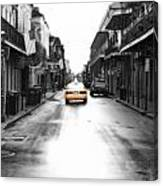 Bourbon Street Taxi French Quarter New Orleans Color Splash Black And White Diffuse Glow Digital Art Canvas Print