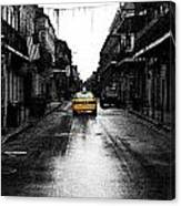Bourbon Street Taxi French Quarter New Orleans Color Splash Black And White Fresco Digital Art Canvas Print