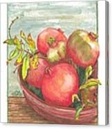 Bowl Of Pomegranates Canvas Print