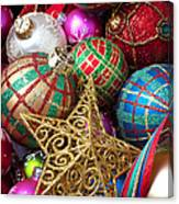 Box Of Christmas Ornaments With Star Canvas Print
