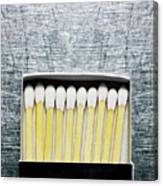 Box Of Wooden Matches On Stainless Steel. Canvas Print