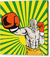 Boxer Boxing Jabbing Front Canvas Print
