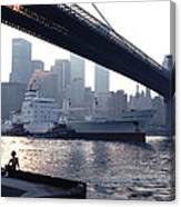 Boy Freighter Brooklyn Bridge Sunset Canvas Print