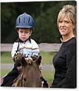 Boy His Horse And Mom Canvas Print