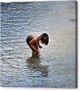 Boy Playing In The Pond Canvas Print