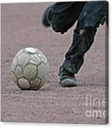 Boy Playing Soccer With A Ball Canvas Print