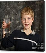 Boy With A Hot Glass Of Water Canvas Print