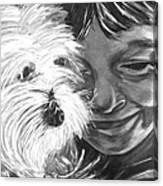 Boy With Pet Dog Canvas Print