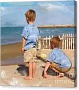 Boys And The Sea Canvas Print