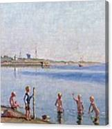Boys At Water's Edge Canvas Print