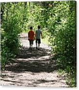 Boys Hiking In Woods Canvas Print