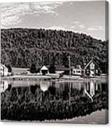 Brant Lake Reflections Black And White Canvas Print
