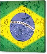 Brazil Flag Vintage Canvas Print