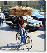 Bread On A Bicycle Canvas Print