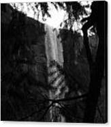 Bridalveil In Background Black And White Canvas Print