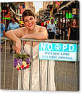 Bride And The Barricade On Bourbon Street Canvas Print
