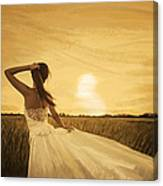 Bride In Yellow Field On Sunset  Canvas Print