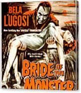 Bride Of The Monster, Bela Lugosi, 1955 Canvas Print