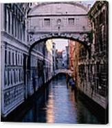 Bridge Of Sighs And Morning Colors In Venice Canvas Print
