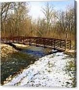 Bridge Over The Creek In Winter Canvas Print