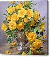 Bright Smile - Roses In A Silver Vase Canvas Print