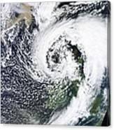 British Isles Storm And Ash Plume, 2011 Canvas Print