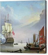 British Man-o'-war Off The Coast Canvas Print